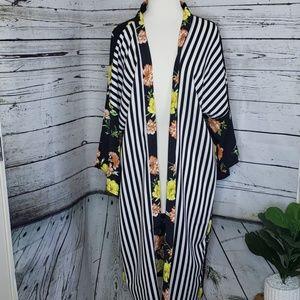 NWT Marcus Alder Floral And Stripes Kimono